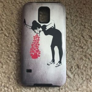 Samsung galaxy s5 bansky girl vomit flowers cover